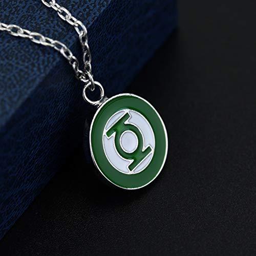 Mens necklace Green Lantern Logo Chains Max Theme Metal Pendant Fashion Jewelry Link Maxi Green Lantern Badge Pin