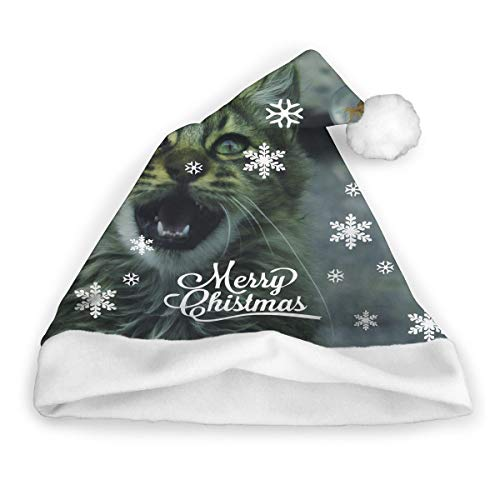 Air Bubbles Blow Cat Non-Woven Pleuche Winter Christmas Hat Santa Hat Xmas Hats for Childrens Adults ()