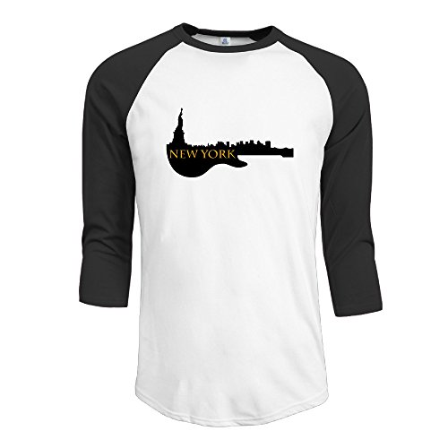 CCGroup Men's New York Half Guitar Silhouette Plain Raglan Graphic T Shirts