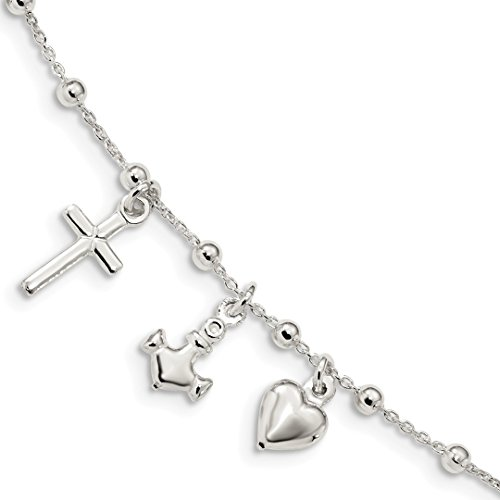 925 Sterling Silver 1 Inch Extension Cross Religious Heart Nautical Link Anchor Ship Wheel Mariners Bracelet 6 /love Bead Beadsed Fine Jewelry For Women Gift Set ()