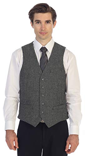 - Gioberti Men's 5 Button Formal Tweed Suit Vest, Gray Herringbone, 2X Large