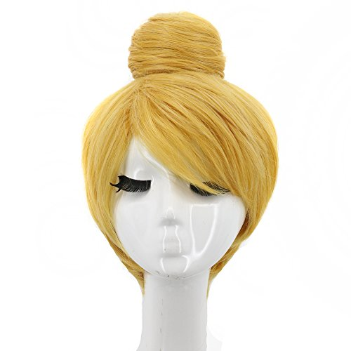 Yuehong Cosplay Wigs Short Blonde Wig Curly Cosplay Synthetic Wigs Costume Buns Hair -