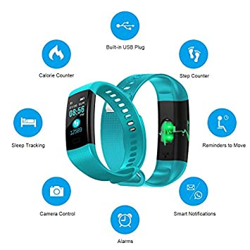 TPE Fitness Tracker with Blood Pressure Monitor, Colorful Screen Activity Tracker Watch IP67 Waterproof Smart Fitness Band with Step Counter, Calorie Counter, Pedometer Watch for Kids Women Men
