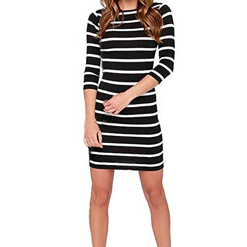 V Neck Striped Dress (Black) - 2