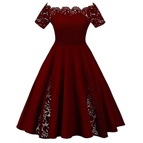GAMISS Women's Plus Size Vintage Floral Lace Dress Short Sleeve Off Shoulder Cocktail Dress Wine Red XL