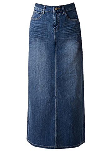 Skirt BL Womens Blue Stretch Back Split Long Pencil A Line Maxi Jean Denim (Denim Jean Skirt)
