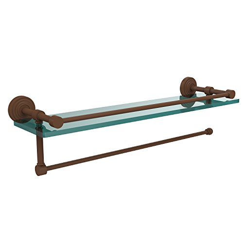 Allied Brass WP-1PT/16-GAL-ABZ Waverly Place Collection Paper Towel Holder with 16 Inch Gallery Glass Shelf, Antique Bronze