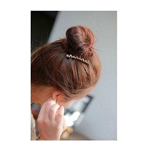 High-grade top clamp rhinestone spring hairpin Sweetness bang clip edge clip fascinating headdress headwear hair decoration (champagne)