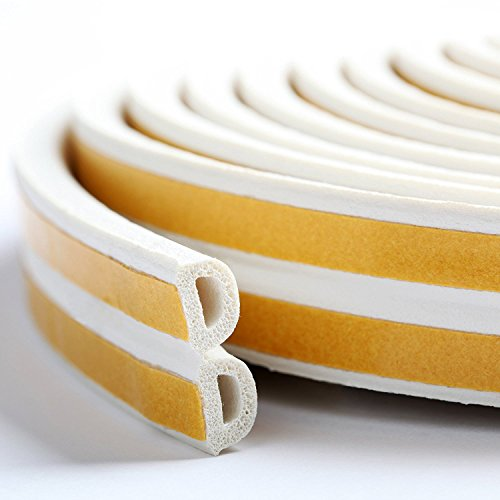 Around Windshield (Loobani Self-adhesive EPDM Doors and Windows Draught Excluder Foam Seal Strip Soundproofing Collision Avoidance Rubber Weatherstrip (D type 5m, White))