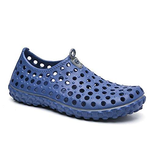 Sandalias para al para Aire Británica Vamp para el Zapatos Moda Zuecos Azul Caminar Agua Hueco Hombre Libre qRgxzWBWOw