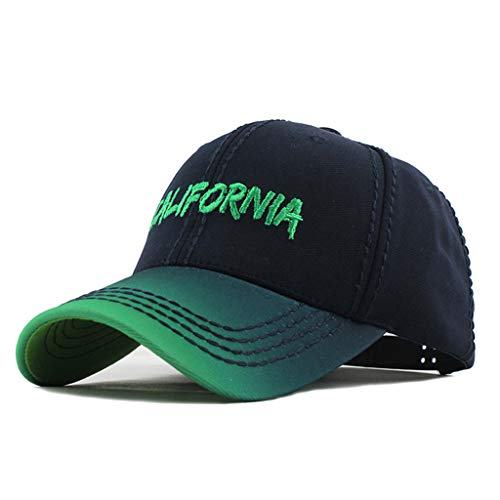 Gradient Baseball Cap, Tuscom New Adjustable Cotton Gradient Color Base Ball Hat California Embroidered Dad Hats Soft Adjustable Snapack Hats Sun Visors Caps for Running Workouts Outdoor (Green)