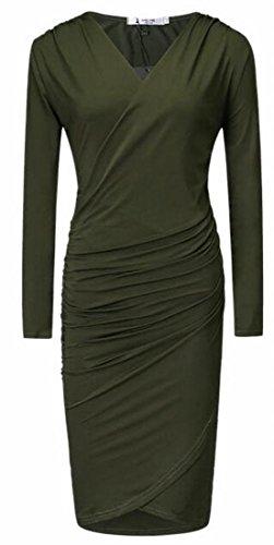 Neck Cross Womens Jaycargogo Army Green Bodycon Long Wrap Sleeve Dress Midi V qOSEEIw
