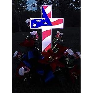 "Solar Lighted American Flag Cross by Eternal Light | Veteran Cross Decoration Heartfelt Cemetery Memorial 14"" x 10"" 4"