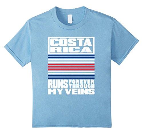 Costa Rica Costume Kids (Kids Costa Rica PUERTO RICO runs My Veins Retro Flag T Shirt 6 Baby Blue)