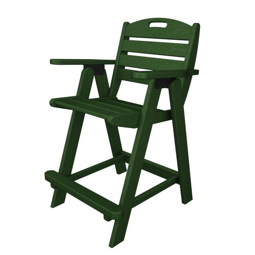 POLYWOOD Nautical Counter Height Chair, Green