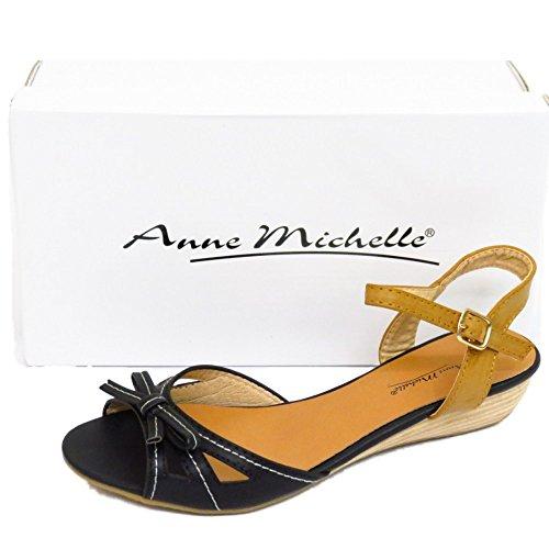 Damen Flach Schwarz Peep-Toe Kleiner Keilabsatz Comfy Sommer Sandalen Pumps Schuhe Größen 3-8 - Schwarz, 36