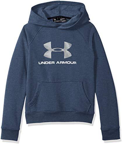 (Under Armour Boys Rival Logo Hoodie, Academy Light Heathe (409)/Steel, Youth Medium )