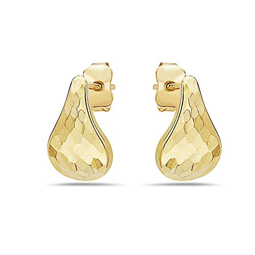 (10K Solid Gold Hammered Tear Drop Earrings With Butterfly Backings - For Women and Girls - Fine)