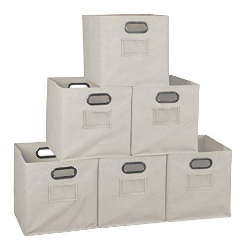 Niche Set of 6 Cubo Foldable Fabric Bins- Natural (Set Bins Storage Folding)