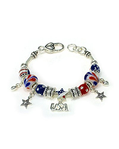 Jewelry Nexus I Love USA Theme American Flag Silver-tone Inspirational Bracelet with Heart Lobster Claw