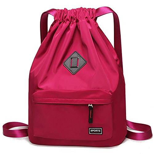 Peicees Waterproof Drawstring Sport Bag Lightweight Sackpack Backpack for Men and Women(Red) by Peicees