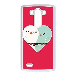 LG G3 Cell Phone Case White Owl Heart Sbhqu