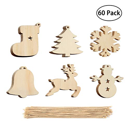 60 Pieces Christmas Tree Wooden Ornaments Hanging Set - Snowman, Tree, Bell, Snowflake, Elk, Santa Sock with 60 Pieces Crafts Twines