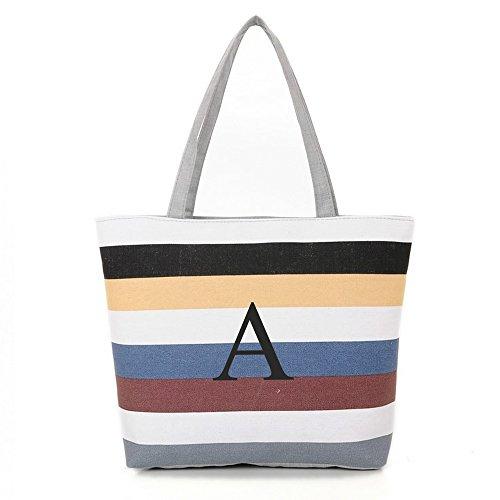 [ INITIAL - A ] Monogram Name Canvas Tote Shoulder Bag - Colorful Stripes