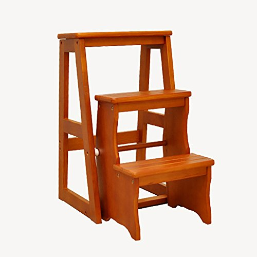 - Ladder stool Step stool- 3-step Solid Wood Stool Furniture Wooden Bench Folding Step Children's Chairs Multifunction Folding Chairs (Color : Light walnut)