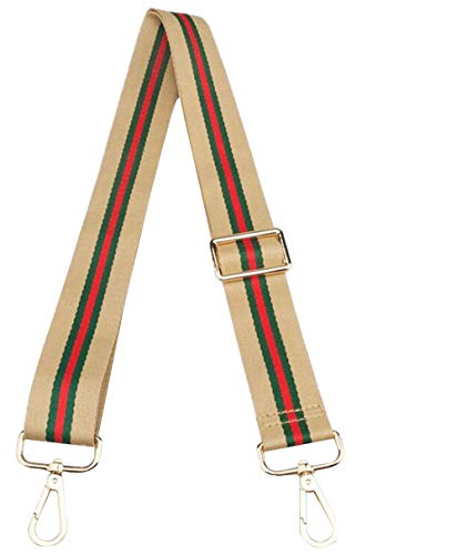 Adjustable Handbag Strap Replacement Guitar Style Canvas 57 Inches Crossbody Strap for Shoulder Bag (Red Yellow Green Stripes-02)