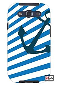 Nautical Marine Blue and White Stripes Anchor Unique Quality Soft Rubber TPU Case for Samsung Galaxy S4 I9500 - White Case