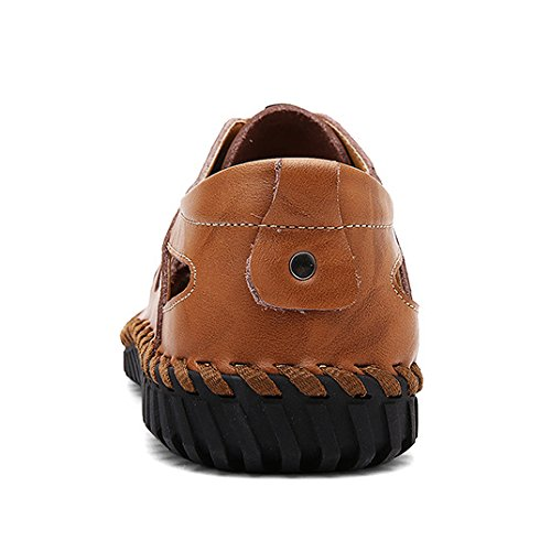 HGDR Mens Leather Closed-Toe Outdoor Sandals Trekking Shoes Comfy Footwear Beach Shoes Brown ATPQowu