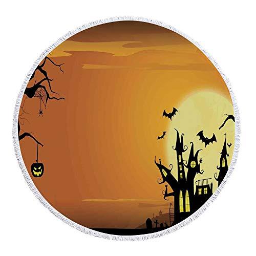 iPrint Thick Round Beach Towel Blanket,Halloween Decorations,Gothic Haunted House Bats Western Spooky Night Scene with Pumpkin,Orange Black,Multi-Purpose Beach Throw -