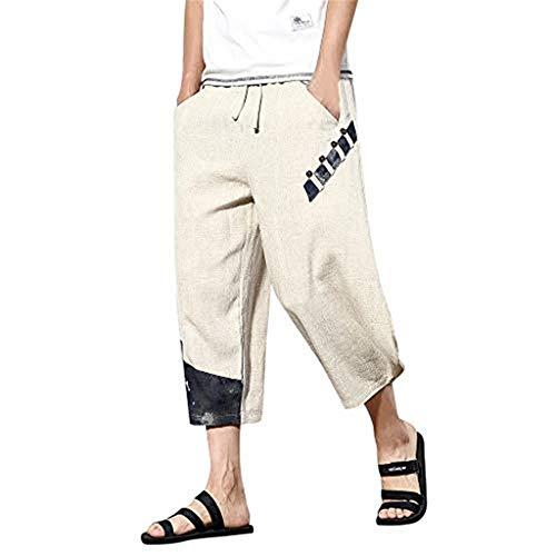 Transser- Men's Baggy Harem Boho Print Pants, Loose Comfy Linen Casual Slim Trousers Beige