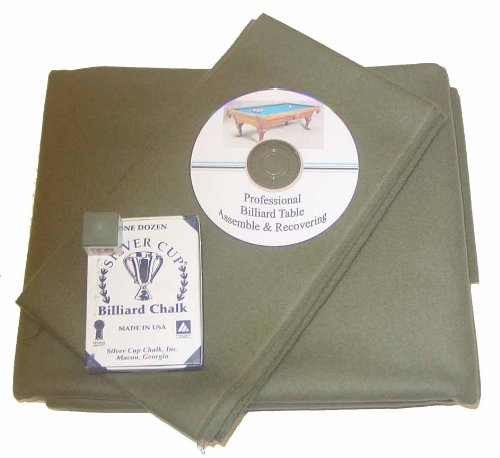 Billiards 8' Proline Classic Precut Olive Green Pool Table Felt Cloth, DVD & Cue ()