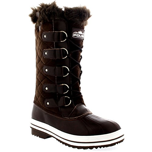 Polar Womens Nylon Tall Winter Snow Boot Brown Suede CrDFsLgGvv