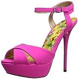 Qupid Women's Daydream-49 Platform Sandal, Hot Pink, 9 M US