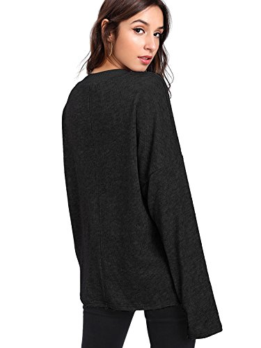 Verdusa Women's Batwing Sleeve Sweaters Jumper Eyelash Lace Pullover Tops Black-1 L by Verdusa (Image #1)