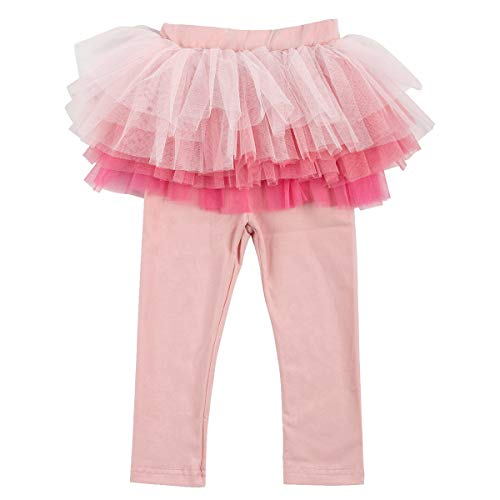 Tutu Tights Leggings - Slowera Little Girls Footless Leggings with Tutu Skirt (Pink2, 130: 6 Years)