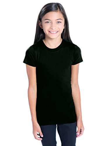 LAT Apparel Girls 100% Cotton Fine Jersey Tee with Ribbed Collar [Medium] Black (Lat Ribbed T-shirt)