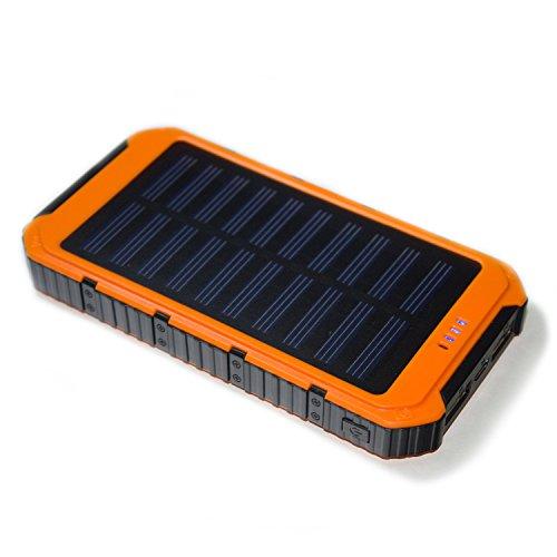 Energienbank, 10000mAh Solar Ladegerät externe Backup-Energien-Bank-Pack Akku im Freien Dual USB Ausgang Externer Akku für iPhone, iPad, Samsung, HTC (orange)