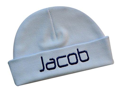 Embroidered Baby Boy Hat Personalized Keepsake Custom Infant Hat (Light -