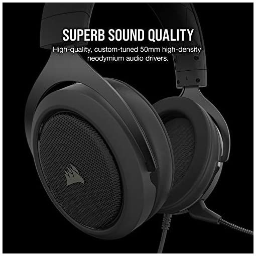 Corsair HS50 PRO Stereo Gaming Headset (Adjustable Memory Foam Ear Cups, Lightweight, Noise-Cancelling Detachable Microphone with PC, PS4, Xbox One, Switch and Mobile Compatibility) – Black