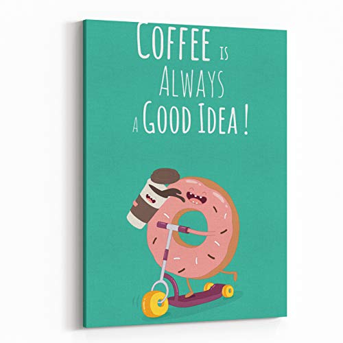 Rosenberry Rooms Canvas Wall Art Prints - Funny Coffee with Donut On The Kick Scooter with The Inscription Coffee is Always A Good Idea (16 x 24 inches) -