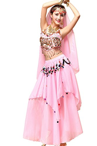 Gypsy Girl Outfits (YYCRAFT Women Halloween Halter Top Skirt Costume Set Belly Dance Outfit Pink)