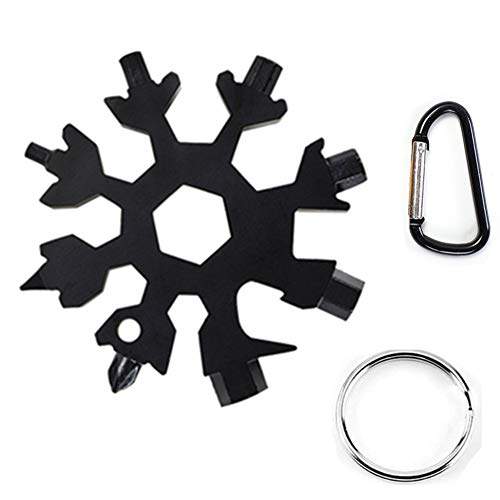 Snowflake Multi-Tool Stainless Steel Snowflake Keychain Tool 18-in-1 Incredible Tool Snowflake Screwdriver Tactical Tool for Outdoor Camping (Amenitee 15 In 1 Stainless Multi Tool)