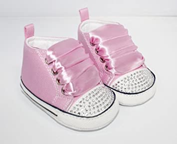 d0854817bdddc9 Amazon.com   Converse Style Baby Pram Shoes With Crystals   Ribbons ...