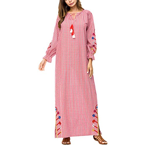 Obxguwn Women's Embroidery Print Muslin Gown Long Sleeve Korea Style Dresses (Color : Pink, Size : M)
