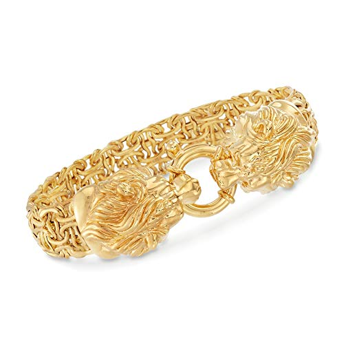 Ross-Simons Italian 14kt Yellow Gold Double Lion Head Byzantine Bracelet (8) ()