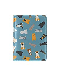 LORVIES Different Dogs Breed Pattern Leather Passport Holder Cover Case for Travel One Pocket